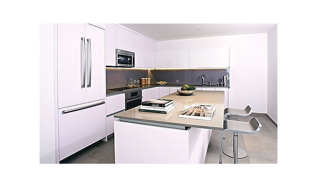 Gourmet Kitchen at Reach Brickell City Centre, Luxury Seaside Condominiums Located at 700 Brickell Ave, Miami, FL 33131