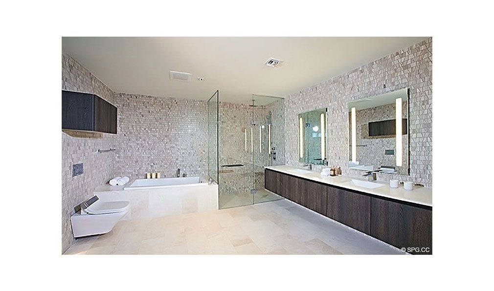 Reach Brickell City Centre Bathroom, Luxury Seaside Condominiums Located at 700 Brickell Ave, Miami, FL 33131