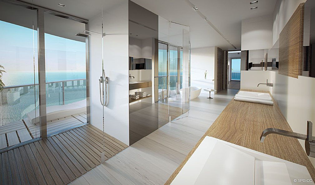 His and Her Bathroom at Regalia, Luxury Oceanfront Condominiums Located at 19505 Collins Ave, Sunny Isles Beach, FL 33160