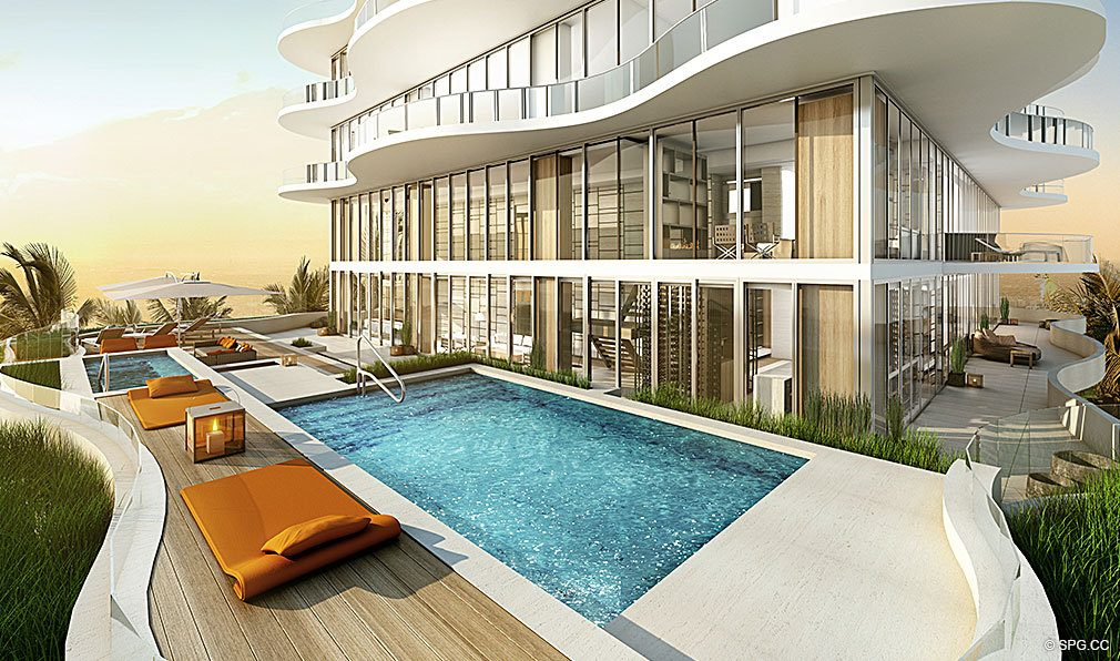 Pool at Regalia, Luxury Oceanfront Condominiums Located at 19505 Collins Ave, Sunny Isles Beach, FL 33160