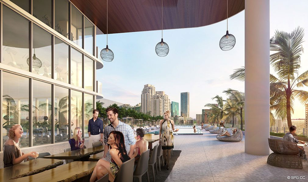 Outdoor Lounge at SLS Lux Brickell, Luxury Seaside Condominiums Located at 801 S Miami Ave, Miami, FL 33130