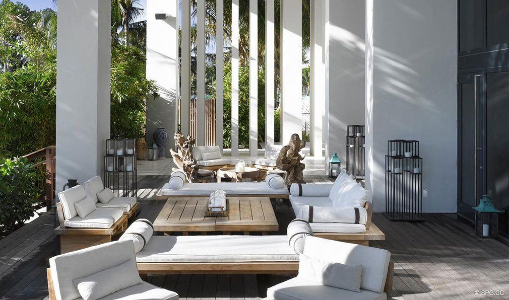 Miami Beach Living Room Terrace At W South Luxury Oceanfront Condominiums Located 2201 Collins Ave