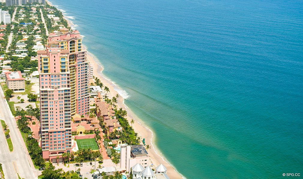Aerial View of Palms, Luxury Oceanfront Condos Located at 2100-2110 N Ocean Blvd, Ft Lauderdale, FL 33305