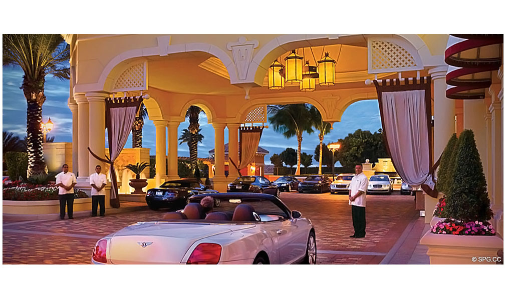 Porte Cochere Entrance at Acqualina, Luxury Oceanfront Condominiums Located at 17885 Collins Avenue, Sunny Isles Beach, FL 33160