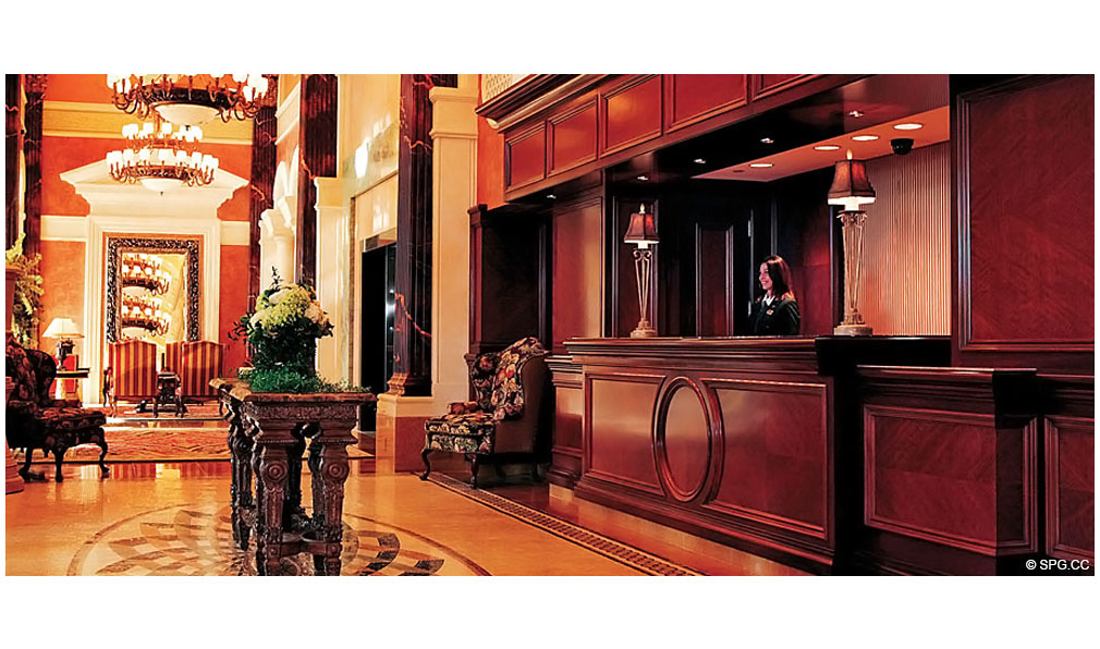 Front Desk at Acqualina, Luxury Oceanfront Condominiums Located at 17885 Collins Avenue, Sunny Isles Beach, FL 33160