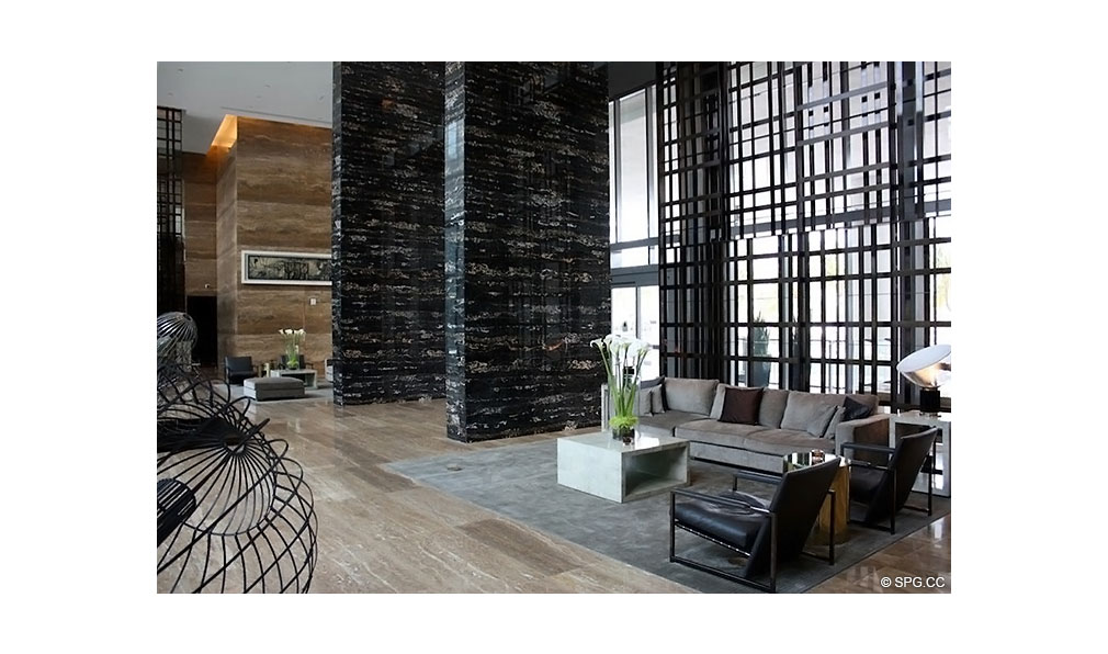 Main Lobby at Apogee South Beach, Luxury Waterfront Condominiums Located at 800 South Pointe Dr, Miami Beach, FL 33139