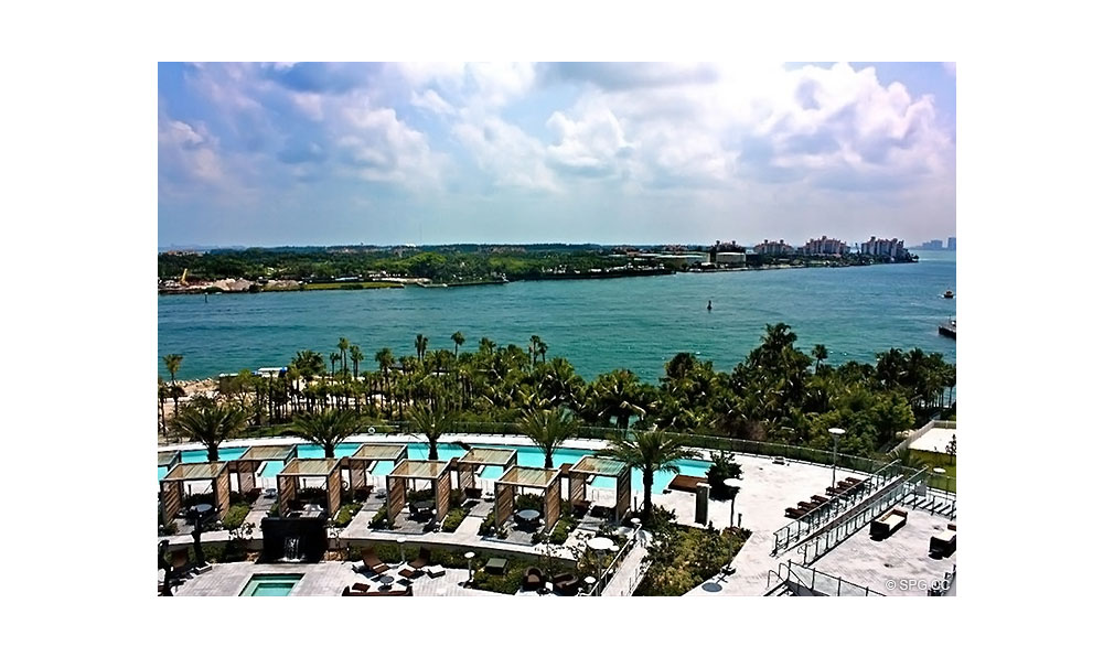 Pool and Water Views at Apogee South Beach, Luxury Waterfront Condominiums Located at 800 South Pointe Dr, Miami Beach, FL 33139