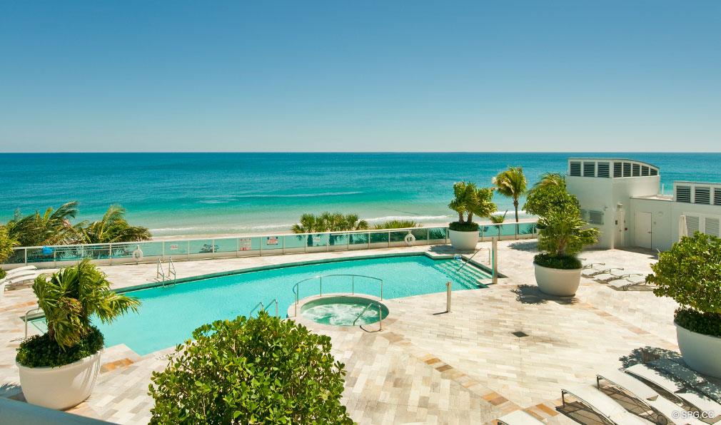 Pool Deck at Aquazul, Luxury Oceanfront Condominiums Located at 1600 South Ocean Boulevard, Lauderdale-by-the-Sea, FL 33062