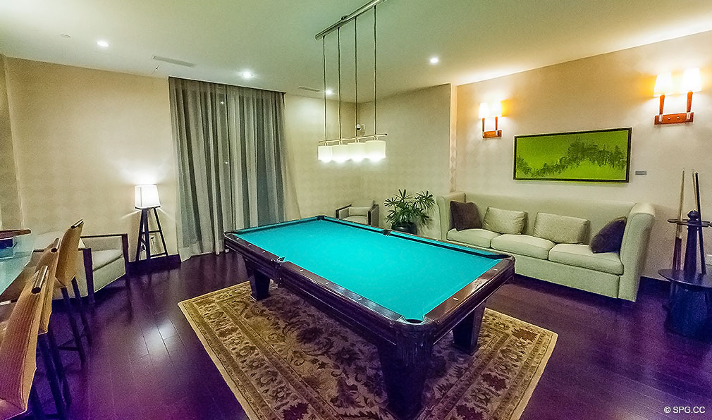 Common Area Pool Table at Aquazul, Luxury Oceanfront Condominiums Located at 1600 South Ocean Boulevard, Lauderdale-by-the-Sea, FL 33062