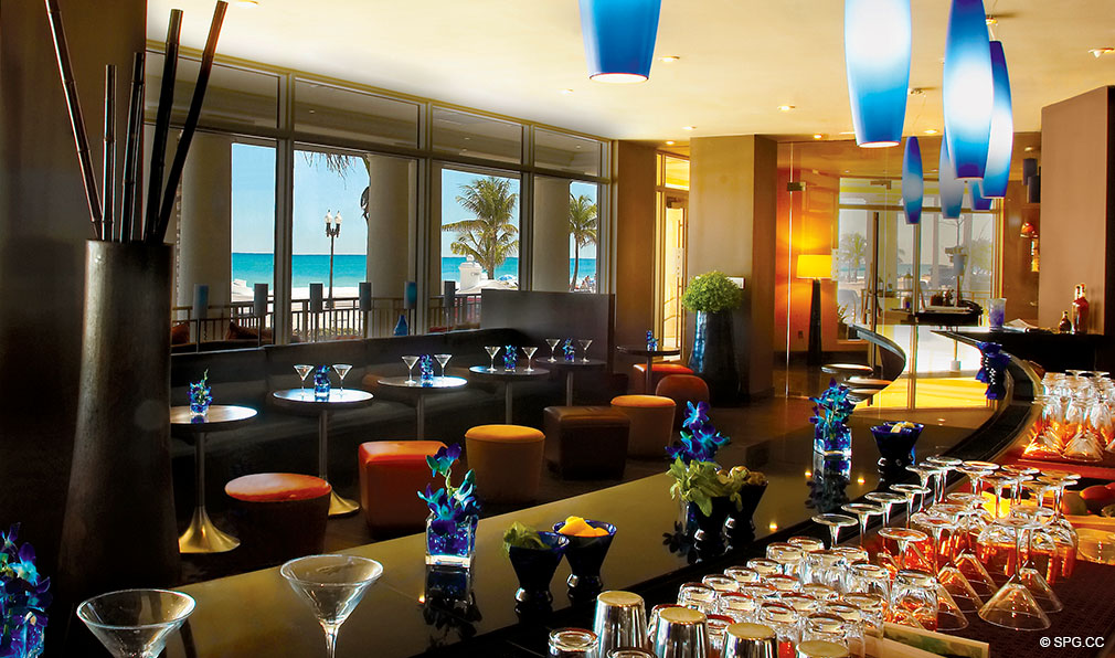Lounge Bar at The Atlantic, Luxury Oceanfront Condominiums Located at 601 North Fort Lauderdale Beach Blvd, FL 33304