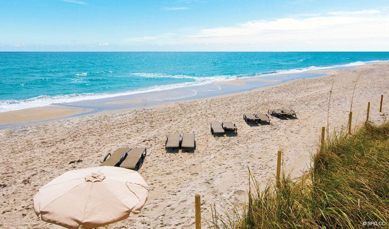 Private Beach at Bellaria, Luxury Oceanfront Condominiums Located at 3000 South Ocean Blvd, Palm Beach, FL 33480