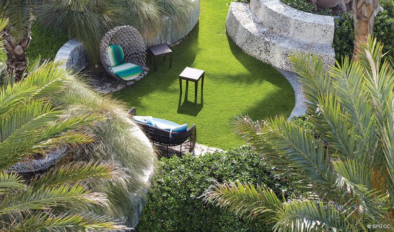 Landscaped Grounds at Canyon Ranch Living, Luxury Oceanfront Condominiums Located at 6799-6899 Collins Avenue, Miami Beach, FL 33141