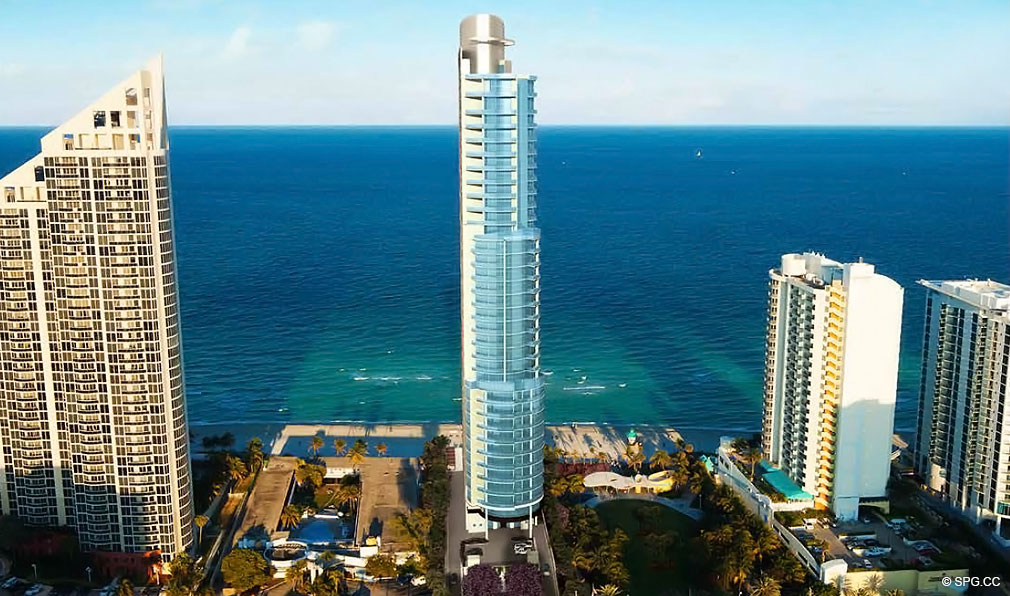 View of Chateau Beach Residences, Luxury Oceanfront Condominiums Located at 17475 Collins Ave, Sunny Isles Beach, FL 33160