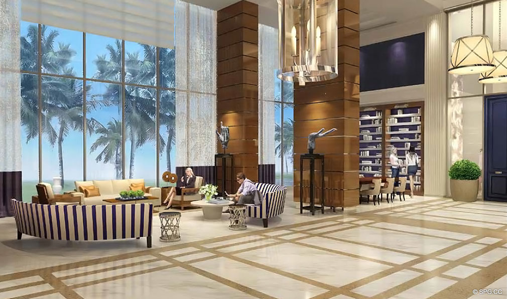 Lobby at Chateau Beach Residences, Luxury Oceanfront Condominiums Located at 17475 Collins Ave, Sunny Isles Beach, FL 33160