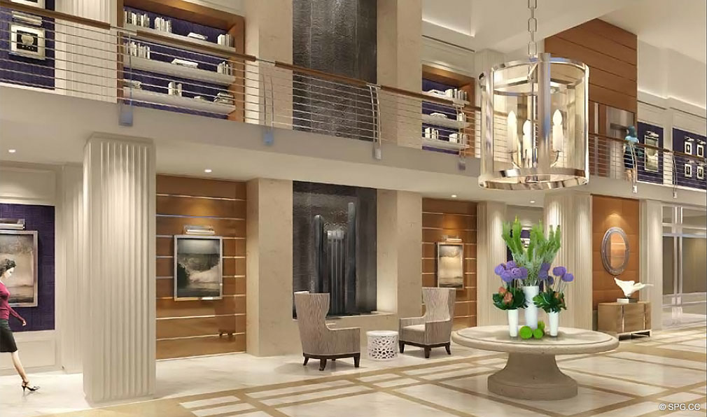 Main Lobby at Chateau Beach Residences, Luxury Oceanfront Condominiums Located at 17475 Collins Ave, Sunny Isles Beach, FL 33160