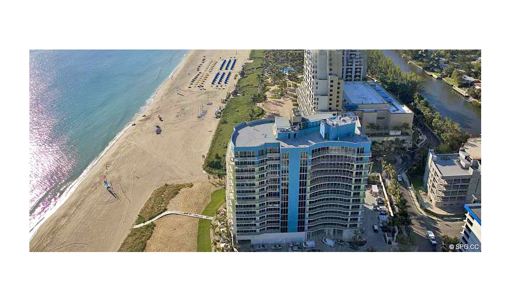Aerial View of Coconut Grove Residences, Luxury Oceanfront Condominiums Located at 1200 Holiday Dr, Fort Lauderdale, FL 33316