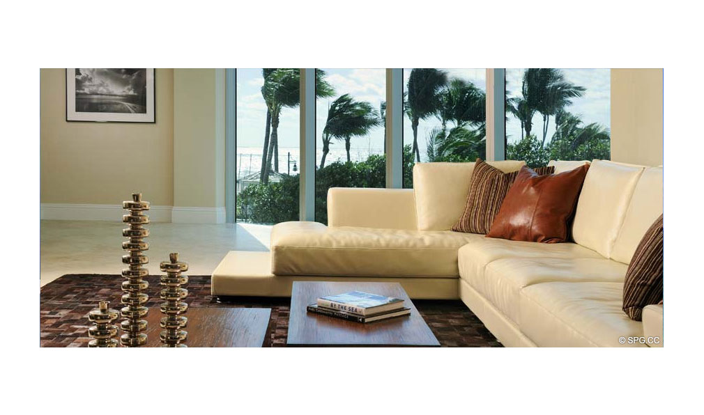 Living Room at Coconut Grove Residences, Luxury Oceanfront Condominiums Located at 1200 Holiday Dr, Fort Lauderdale, FL 33316