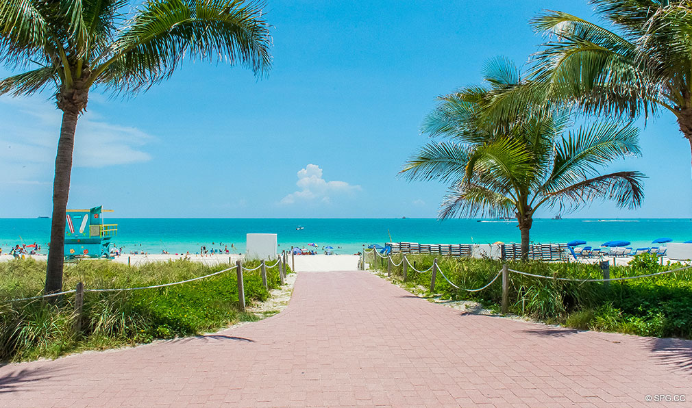 Private Beach at Continuum, Luxury Oceanfront Condos Located at 50-100 South Pointe Dr, Miami Beach, FL 33139