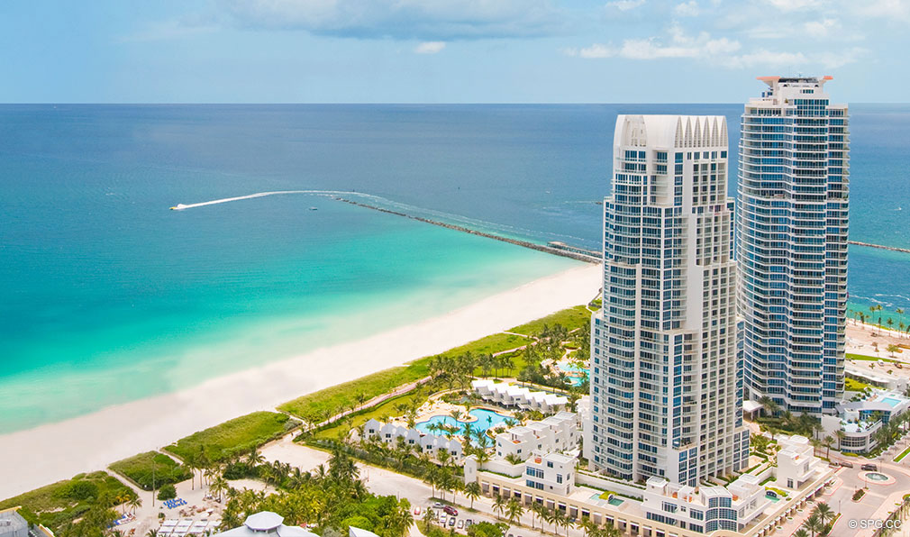 Aerial View of Continuum, Luxury Oceanfront Condos Located at 50-100 South Pointe Dr, Miami Beach, FL 33139