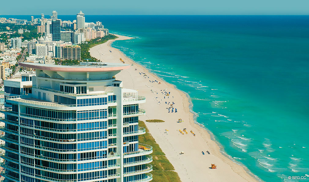 Aerial Beach View from Continuum, Luxury Oceanfront Condos Located at 50-100 South Pointe Dr, Miami Beach, FL 33139