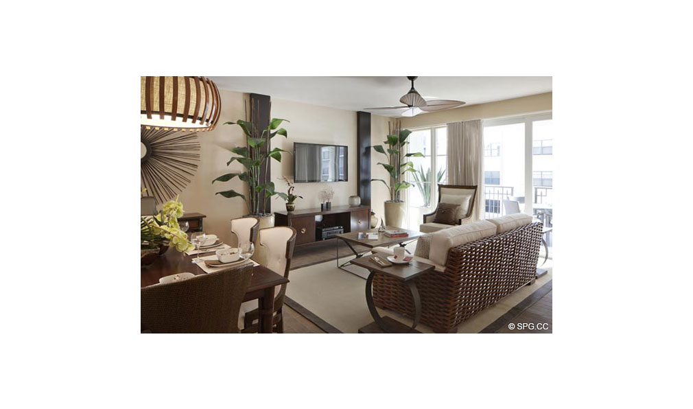 View of a Living Room at Dolcevita, Luxury Oceanfront Condominiums Located at 155 South Ocean Ave, Singer Island, FL 33404