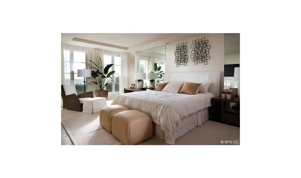 Master Bedroom at Dolcevita, Luxury Oceanfront Condominiums Located at 155 South Ocean Ave, Singer Island, FL 33404