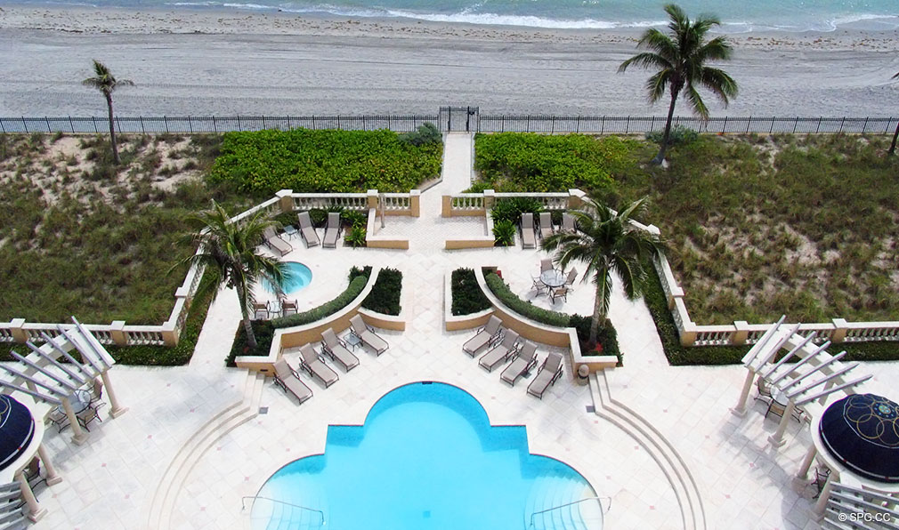Pool Deck at Excelsior, Luxury Oceanfront Condominiums Located at 400 South Ocean Blvd, Boca Raton, FL 33432