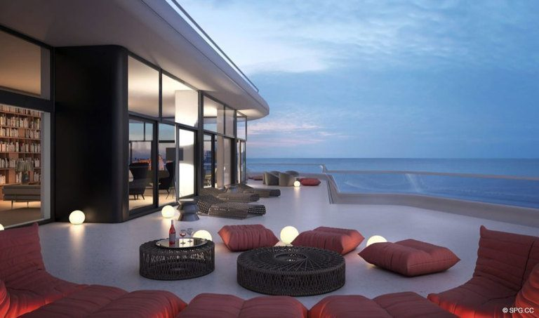 Outside Living at Faena House, Luxury Oceanfront Condominiums Located at 3201 Collins Ave, Miami Beach, FL 33140