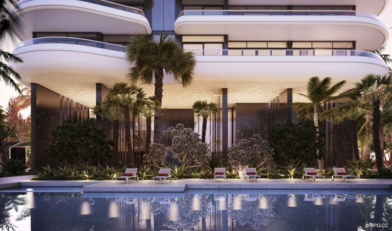 Pool at Faena House, Luxury Oceanfront Condominiums Located at 3201 Collins Ave, Miami Beach, FL 33140