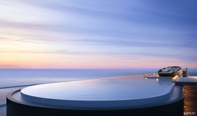 Private Penthouse Pool at Faena House, Luxury Oceanfront Condominiums Located at 3201 Collins Ave, Miami Beach, FL 33140