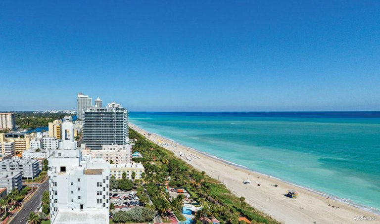 Beach Views from Faena House, Luxury Oceanfront Condominiums Located at 3201 Collins Ave, Miami Beach, FL 33140