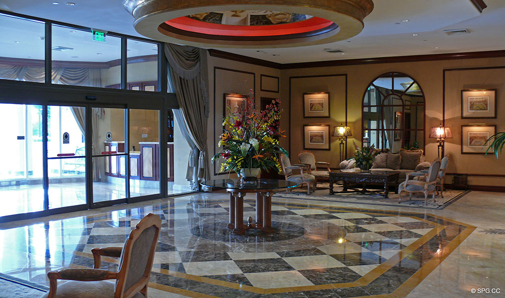 L'Ambiance Lobby, Luxury Oceanfront Condominiums Located at 4240 Galt Ocean Dr, Ft Lauderdale, FL 33308
