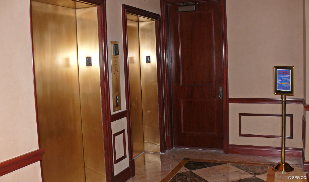 Elevator Lobby at L'Ambiance, Luxury Oceanfront Condominiums Located at 4240 Galt Ocean Dr, Ft Lauderdale, FL 33308