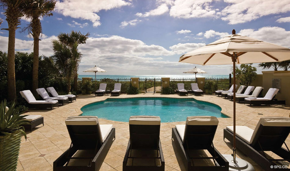 Pool Deck at Luxuria, Luxury Oceanfront Condominiums Located at 2500 S Ocean Blvd, Boca Raton, FL 33432
