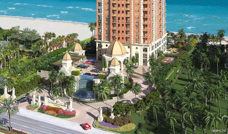 Entrance to Mansions at Acqualina, Luxury Oceanfront Condominiums Located at 17749 Collins Ave, Sunny Isles Beach, FL 33160