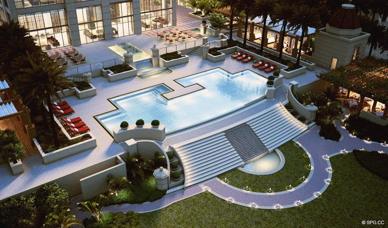 Mansions at Acqualina Pool Deck, Luxury Oceanfront Condominiums Located at 17749 Collins Ave, Sunny Isles Beach, FL 33160
