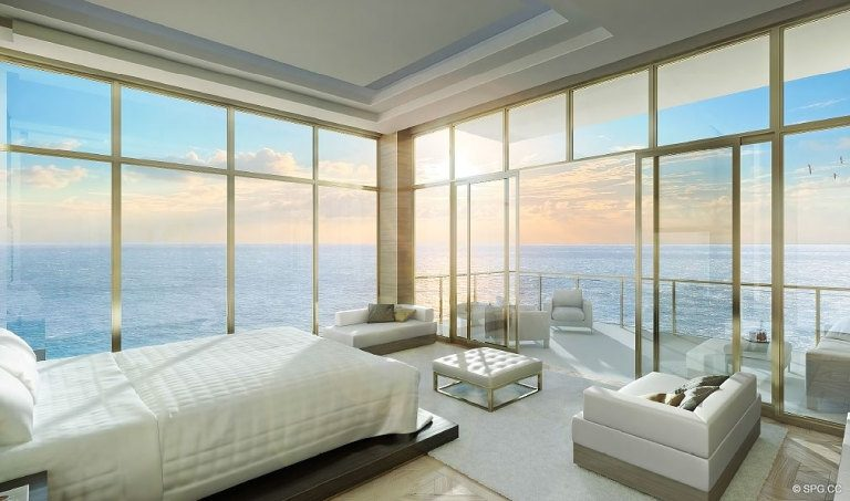 Mansions at Acqualina Bedroom, Luxury Oceanfront Condominiums Located at 17749 Collins Ave, Sunny Isles Beach, FL 33160