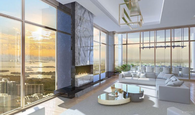 Living Room at Mansions at Acqualina, Luxury Oceanfront Condominiums Located at 17749 Collins Ave, Sunny Isles Beach, FL 33160