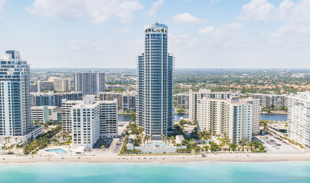 View of Ocean Palms, Luxury Oceanfront Condominiums Located at 3101 S Ocean Dr, Hollywood Beach, FL 33019