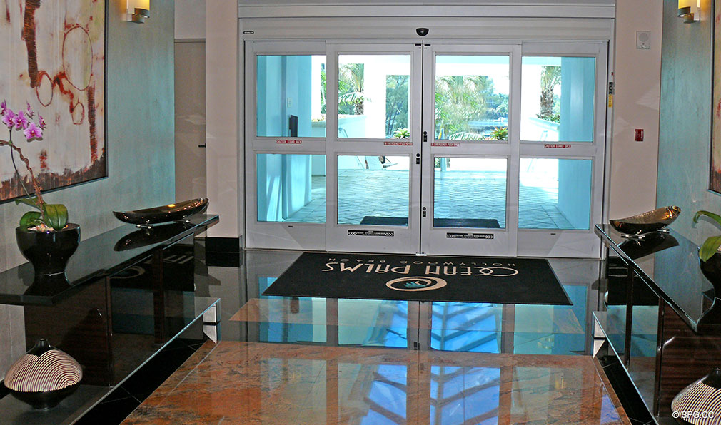 Ocean Palms Entrance, Luxury Oceanfront Condominiums Located at 3101 S Ocean Dr, Hollywood Beach, FL 33019