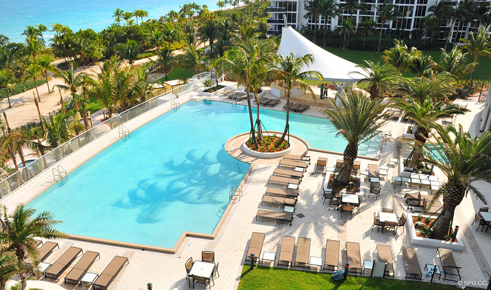 Pool Deck at One Bal Harbour, Luxury Oceanfront Condominiums Located at 10295 Collins Ave, Bal Harbour, FL 33154