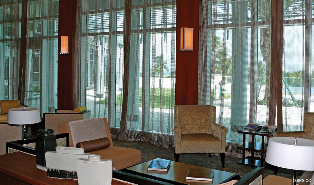 Social Area at One Bal Harbour, Luxury Oceanfront Condominiums Located at 10295 Collins Ave, Bal Harbour, FL 33154