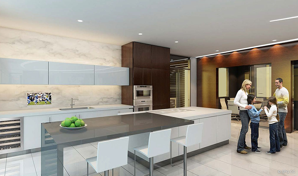 Gourmet Kitchen at Paramount, Luxury Oceanfront Condominiums Located at 700 N Atlantic Blvd, Ft Lauderdale, FL 33304