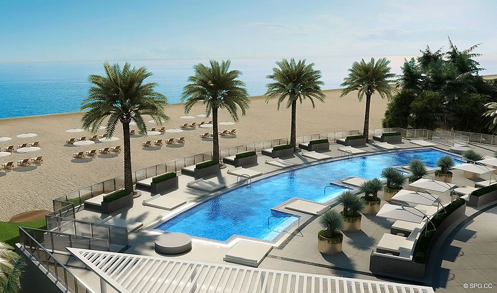 Pool Deck at Porsche Design Tower Miami, Luxury Oceanfront Condominiums Located at 18555 Collins Ave, Sunny Isles Beach, FL 33160