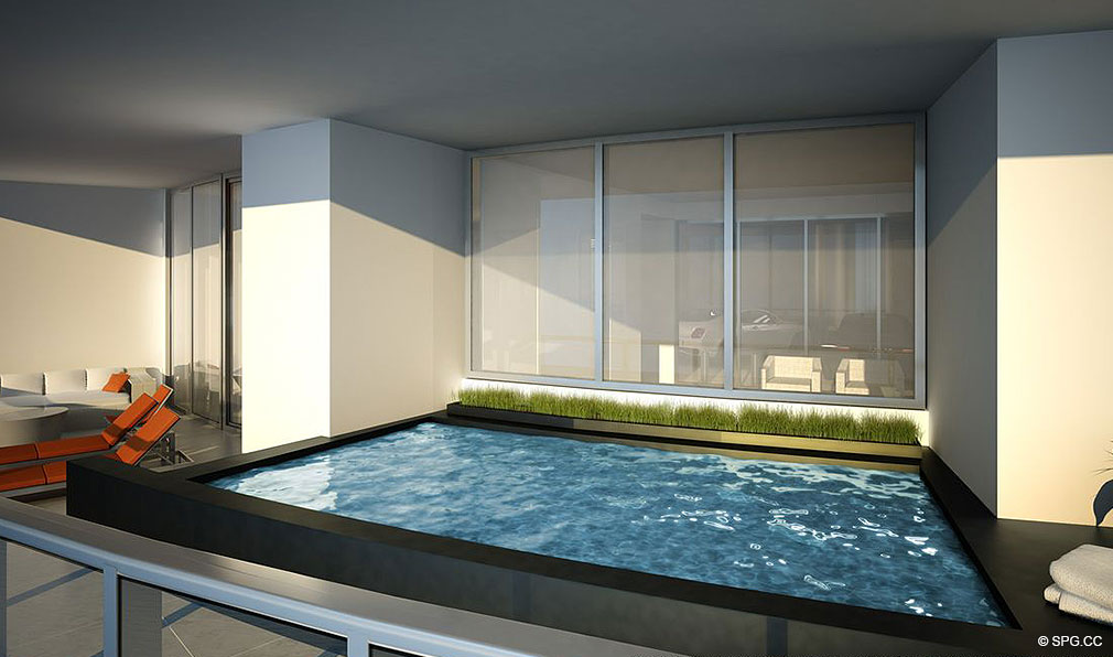 Porsche Design Tower Miami Private Terrace Pool, Luxury Oceanfront Condominiums Located at 18555 Collins Ave, Sunny Isles Beach, FL 33160