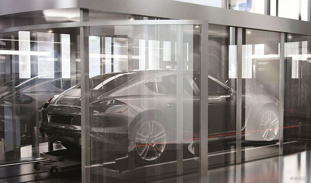 Car Elevator at Porsche Design Tower Miami, Luxury Oceanfront Condominiums Located at 18555 Collins Ave, Sunny Isles Beach, FL 33160
