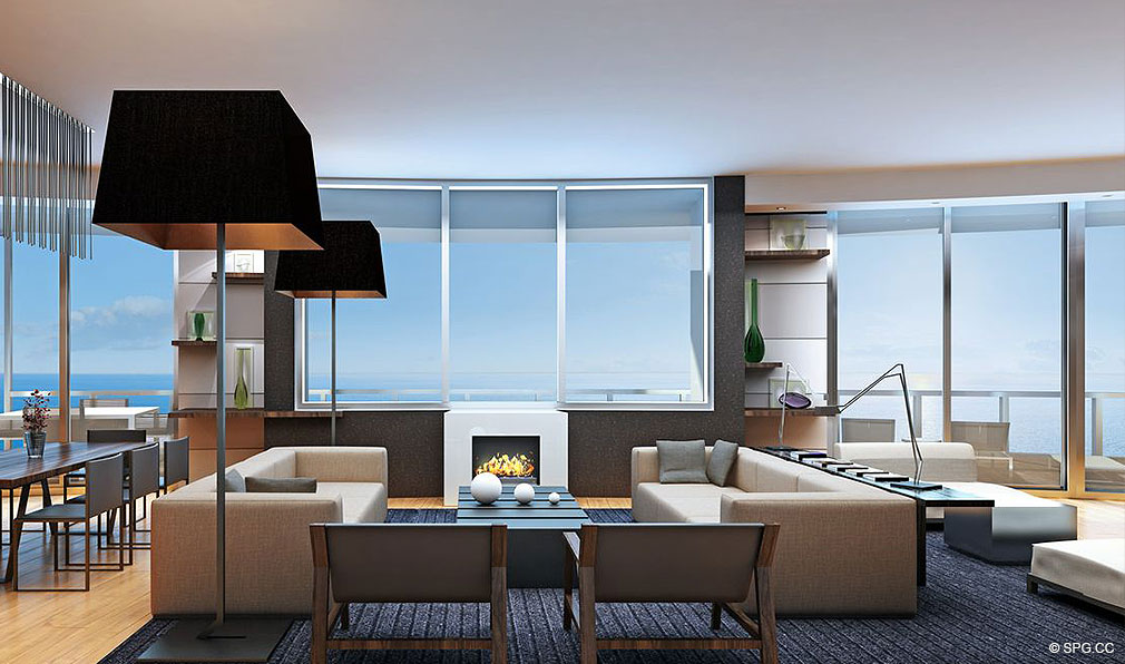 Living Area at Porsche Design Tower Miami, Luxury Oceanfront Condominiums Located at 18555 Collins Ave, Sunny Isles Beach, FL 33160