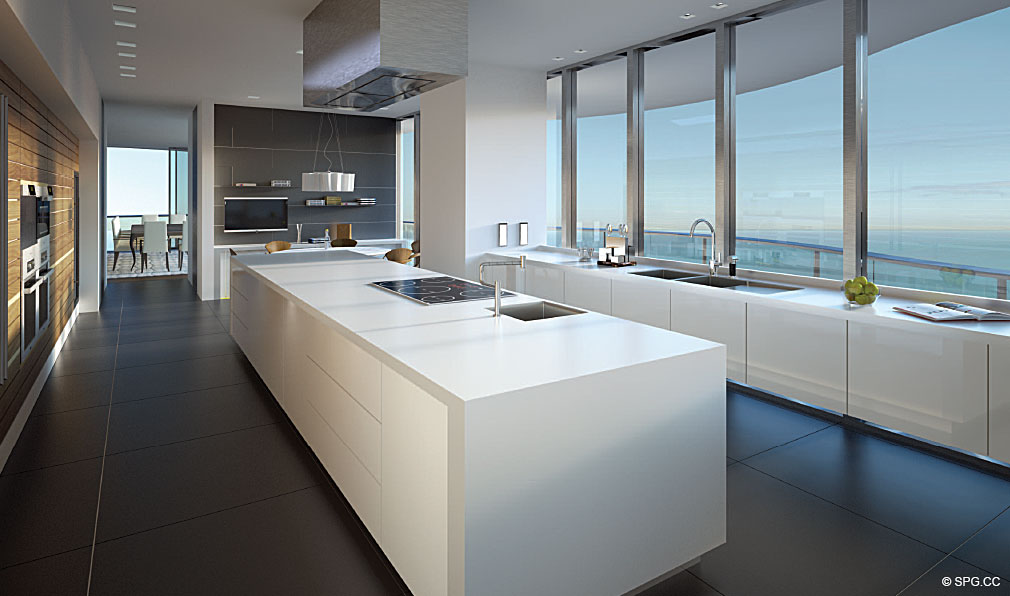 Regalia Gourmet Kitchen, Luxury Oceanfront Condominiums Located at 19505 Collins Ave, Sunny Isles Beach, FL 33160