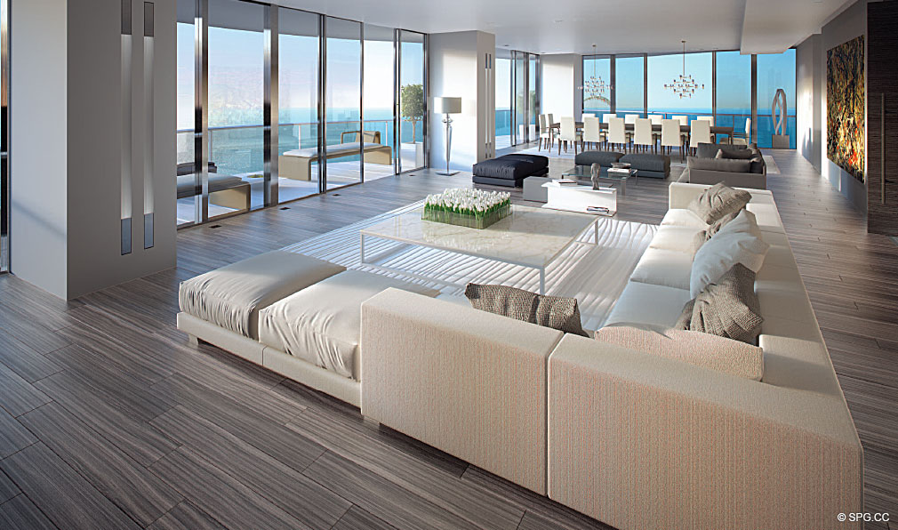 Regalia Living Room, Luxury Oceanfront Condominiums Located at 19505 Collins Ave, Sunny Isles Beach, FL 33160