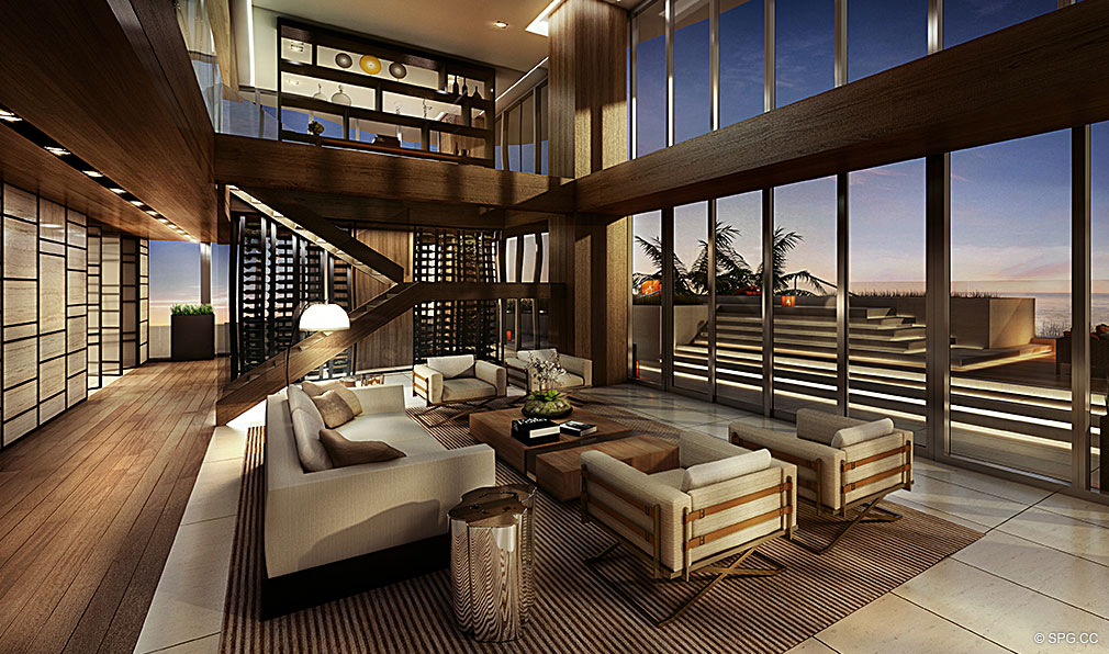 Social Spaces at Regalia, Luxury Oceanfront Condominiums Located at 19505 Collins Ave, Sunny Isles Beach, FL 33160